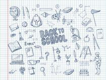 Big set of school supplies, such as a backpack, book, laptop, globe and others, drawn pen on a notebook. Vector royalty free illustration