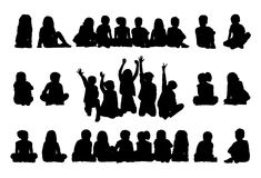 Big set of schoolchildren seated silhouettes vector illustration