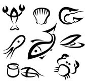 Big set of sea food symbols Stock Image