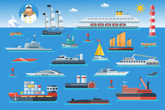 Big set of sea ships. Water carriage and maritime transport in flat design style. Vector illustration. Royalty Free Stock Photo