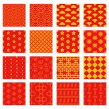 Big set of seamless Japanese patterns. Red and yellow vector backgrounds for your design Stock Images