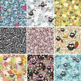 Big set of seamless patterns with cute owls. Stock Photo