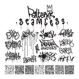 Big set of seamless patterns graffiti style Royalty Free Stock Image