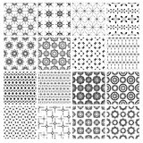 Big set of 16 seamless simple black and white patterns. Collection of 16 seamless simple graphic geometric black and white patterns. Set of 16 monochrome Stock Photography