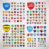 Big set of shields with the flags of the countries of South and Royalty Free Stock Images