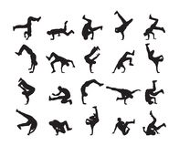Big set of Silhouette of expressive break dance. Young people dancing of Hip Hop on white background. Vector illustration: Big set of Silhouette of expressive Stock Photos