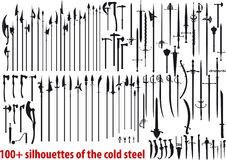 Big set silhouettes of the cold steel Royalty Free Stock Photography