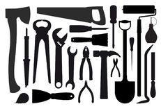 Big set of silhouettes of workers tools.  stock illustration