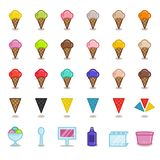 Big set of simple outline icons for gelato cafe. Isolated on white background. Different flavors of ice cream. Stock Photography