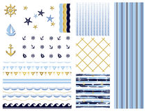 Big set with simple seamless patterns. Background with waves . Marine patterns and elements. Vector illustration. Eps 10 Royalty Free Stock Photography