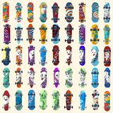 Big Set of skateboards and skateboarding elements street style. Painted in bright figures in a cartoon. Big Set of skateboards and skateboarding and elements of Royalty Free Stock Images