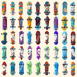 Big Set of skateboards and skateboarding elements street style. Painted in bright figures in a cartoon. Vector Stock Images