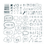 Big set of sketch arrows, speech bubbles clouds, strokes and hat. Ched badges. Business doodles. Hand drawn design elements. Vector illustration Royalty Free Stock Photography