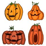 Big set of sketch pumpkins for Halloween decorated. New Big set of sketch pumpkins for Halloween decorated stock illustration