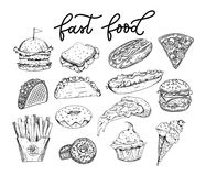 Big set of sketched fastfood elements. Burgers, tacos, pizza slices, donuts, french fries, cupcake, hot-dogs, ice-cream. Hand. Drawn food isolated on white stock illustration