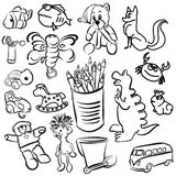 Big Set of Sketched Kids Toys. Vector Outline Toon Artwork Royalty Free Stock Photo