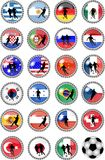 Big set of soccer buttons - national teams Stock Photography