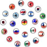 Big set of soccer buttons - national teams Royalty Free Stock Images