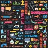 Big set of social media background doodle royalty free illustration