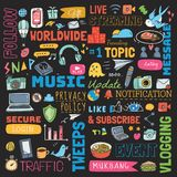 Big set of social media background doodle royalty free illustration