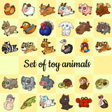 Big set of soft toy animals, 30 different icons Royalty Free Stock Image