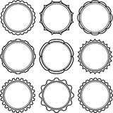 Big set of solid black templates for rubber stamps.  Royalty Free Stock Photography