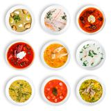 Big set of soups from worldwide cuisines, healthy food. Cream soup with mushrooms, asian fish soup, soup with meat - solyanka, russian borscht, chicken soup royalty free stock photography
