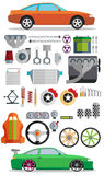 Big set of spare parts for cars. Tuning and modernization. Stock Photos