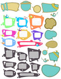 Big set of Speech bubbles, labels with funny birds Royalty Free Stock Photos