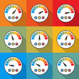 Big set of speedometer icons with long shadow. Vector illustration Stock Image