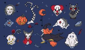 Big set of spooky Halloween cartoon characters hand drawn in doodle style - evil clown, puppet, witch flying on broom. Vampire Jack-o -lantern, vampire, ghost Royalty Free Stock Photo