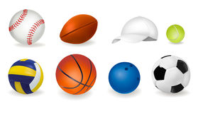 Big set of sport balls and tennis cap. Vector Stock Photo
