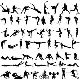Big set of sport silhouettes of men and women. Vector silhouettes of athletes on a white background Stock Images