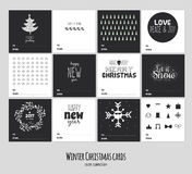 Big set of square black and white winter cards Stock Photography