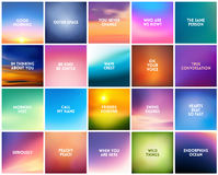 BIG set of 20 square blurred nature backgrounds. With various love quotes Royalty Free Stock Photos