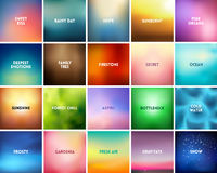 BIG set of 20 square blurred nature backgrounds. With various quotes. Sunset and sunrise sea blurred background Royalty Free Stock Image