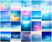 BIG set of 20 square blurred nature blue backgrounds number 2. With various quotes Stock Photos