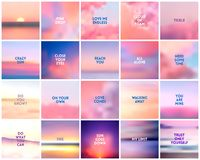 BIG set of 20 square blurred nature purple pink backgrounds. With various quotes. BIG set of 20 square blurred nature dark purple violet pink backgrounds. With royalty free illustration