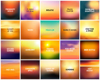 BIG set of 20 square blurred nature golden orange yellow red backgrounds. With various quotes. Sunset and sunrise sea ocean sky blurred blue background Stock Photo