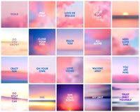 BIG set of 20 square blurred nature purple pink backgrounds. With various quotes. BIG set of 20 square blurred nature dark purple violet pink backgrounds. With stock illustration