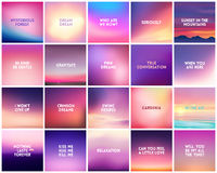 BIG set of 20 square blurred nature purple pink backgrounds. With various quotes. Sunset and sunrise sea sky blurred blue background vector illustration