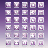 Big set of square buttons with different glamorous image for the user interface and web design Stock Photos