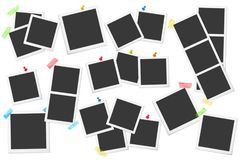 Big set of square vector photo frames on sticky tape, pins and rivets. Vector illustration of photo design. Stock Image