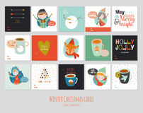 Big set of square winter cards. Royalty Free Stock Images