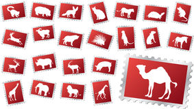 Big set stamps - 11. Animals. Set of 23 vector postage stamps for web Stock Photography