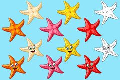 Big set starfish colorful and contour. Big set cheerful cute starfishes with person and not of a pink, red, yellow, orange, beige colors and black contour line Royalty Free Stock Photo