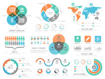 A big set of statistical infographic elements for business. A big set of various infographic elements including statistical graphs, charts with world map and Royalty Free Stock Image