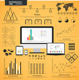 A big set of statistical infographic elements. A big set of various statistical business infographic elements with modern digital devices presentation on yellow Stock Photos
