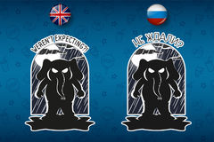 Big set of stickers in English and Russian languages.Elephant . Vector, cartoon Royalty Free Stock Photo