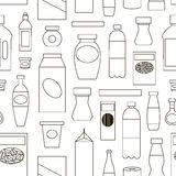 Big set of store products pattern. Pattern of store products in plastic and aluminum cans. Canned goods and supplies, drinks and dairy products. Retail store vector illustration